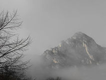 High mountain peak filled with fog Stock Images