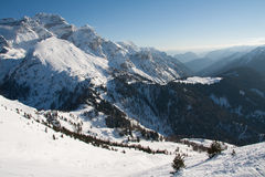 High mountain peaks with snow Royalty Free Stock Image
