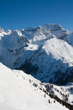 High mountain peaks with snow Stock Image
