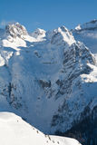 High mountain peaks with snow. View of Dolomite of Brenta towards Cima tosa in Italian Alps mountain. The photo has been taken Dos del Sabion alpine shelter Stock Photography