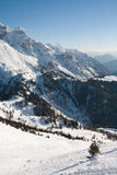 High mountain peaks with snow Stock Photos