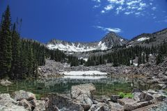 Wish I Didn,t Have to Leave. High mountain pond with massive mountains and a clear glass like pond with some snow Stock Image
