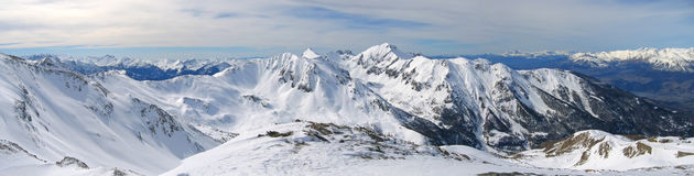 High mountain range with snow. High mountain range with lot of snow - Les Orres - Alps - France - Panorama Royalty Free Stock Photos