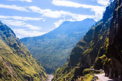 High mountain road in Himalayas. Picture taken during bicycling trip in autumn. Himalayas, India Royalty Free Stock Photo