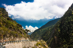 High mountain road in Himalayas. Picture taken during bicycling trip in autumn. Himalayas, India Stock Images