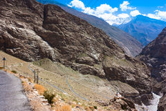 High mountain road in Himalayas. Picture taken during bicycling trip in autumn. Himalayas, India Royalty Free Stock Photography