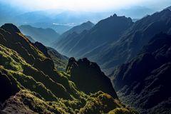 High mountain scene of fansifan peak  in sapa town laocai provin Stock Photo
