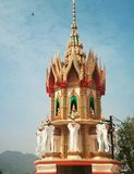 On the high mountain stands the Buddhist temple of the tiger cave Thailand royalty free stock photos
