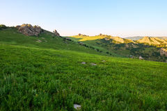 The high mountain steppe sunset Royalty Free Stock Photos