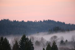 High mountain sunrise fog Royalty Free Stock Images