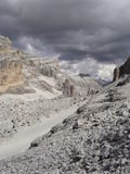 High mountain valley in Dolomites. High mountain valley under Tofana in Dolomites in Italy Stock Photo