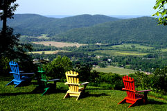High Mountain View. Colorful chairs waiting at the high mountain top view Royalty Free Stock Image