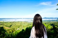 High mountain view infront of the women from Khao Kho Royalty Free Stock Images