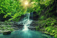 High mountain waterfall. Beautiful mountain rainforest waterfall with fast flowing water and rocks, long exposure. Natural seasonal travel outdoor background Stock Photo