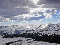 High Mountain Winter 1. Snow and sun on the peaks of the Colorado Rocky Mountains stock photo