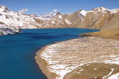 High-mountainous lake Tilicho Royalty Free Stock Images