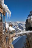 High-mountainous station. High-mountainous station of the lift in the Alpes on a background of mountains Royalty Free Stock Photography