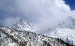 High mountains. In clouds. Caucasus Dombaj Royalty Free Stock Photo