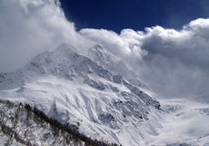 High mountains. In clouds. Caucasus Dombaj Royalty Free Stock Photos