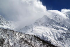 High mountains. In clouds. Caucasus Dombaj Stock Photo