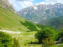 Mountains of the Albanian Alps. High mountains of the Albanian Alps stock photo