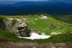 High mountains. Bulgarian mountains and white clouds in the sky Stock Photos