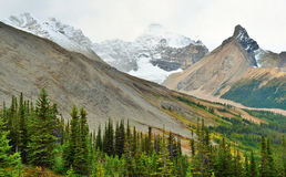 High mountains of the Canadian Rockies along the Icefields Parkway between Banff and Jasper. In the fall stock image