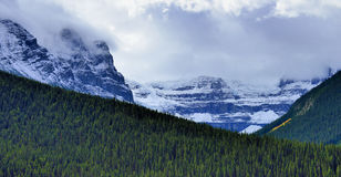 High mountains of the Canadian Rockies along the Icefields Parkway between Banff and Jasper. In the fall royalty free stock images
