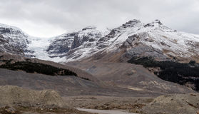 High mountains of the Canadian Rockies along the Icefields Parkway between Banff and Jasper. In the fall stock photo
