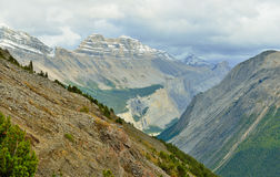 High mountains of the Canadian Rockies along the Icefields Parkway between Banff and Jasper. In summer stock photography