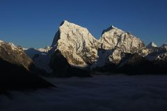 High mountains Cholatse and Taboche Stock Image