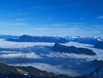 High mountains and clouds view Royalty Free Stock Photo
