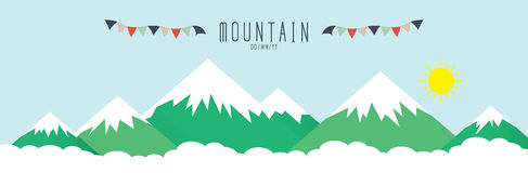High mountains, covered by snow. Vector illustration stock illustration