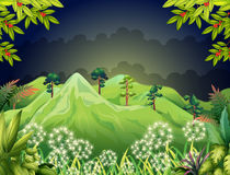 High mountains at the dark forest. Illustration of the high mountains at the dark forest Royalty Free Stock Images
