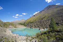 High in the mountains flowing river and flows into the lake. Stock Image
