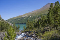 High in the mountains flowing river and flows into the lake. Royalty Free Stock Photography