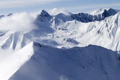 High mountains in haze Royalty Free Stock Photo