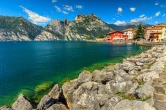 High mountains,lake and city,Lake Garda,Torbole,Italy,Europe Royalty Free Stock Photos