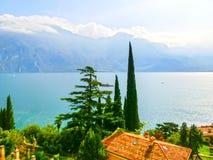 High mountains and Lake Garda,Italy, Europe Royalty Free Stock Photography