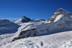 High mountains Mt Gletscherhorn and Mt Rottalhorn Stock Image