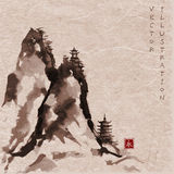 High mountains with pagodas hand-drawn with ink Royalty Free Stock Photo