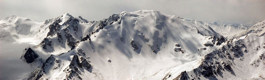 High mountains panorama. Panorama of high snowy mountains in North Tien Shan stock photography
