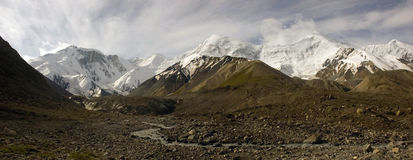 High mountains panorama. Panorama of high snowy mountains in Central Tien Shan with Marble Wall peak stock image