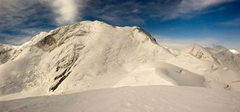 High mountains panorama. Panorama of Marble Wall peak (6146) in Central Tien Shan stock photos