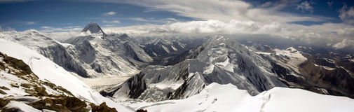 High mountains panorama. Panorama of Central Tien Shan mountains with Khan Tengri peak (7010 stock photo