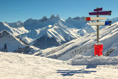High mountains and signboard in the Alps,Les Sybelles,France Royalty Free Stock Photo