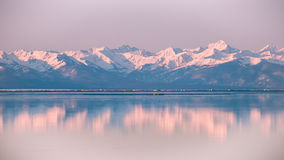 High mountains in snow on the beach. Stock Photography
