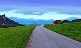 High mountains spring night scenic road view Royalty Free Stock Photo
