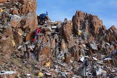 High mountains treking group climbing royalty free stock photography