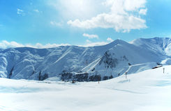 High mountains under snow. In the winter Stock Image
